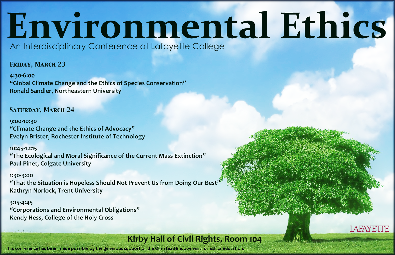 Environmental Ethics, An Interdisciplinary Conference at Lafayette ...